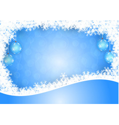snowflake and ball on blue bokeh background for vector image vector image