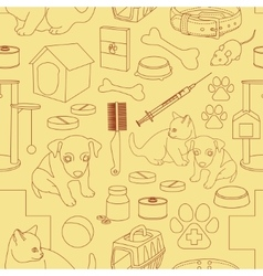 Veterinary pet icons pattern vector image vector image