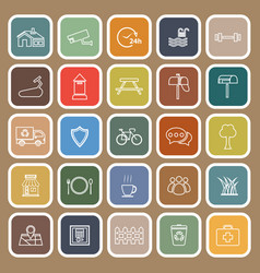 Village line flat icons on brown background vector