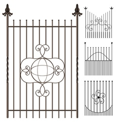 Wrought iron fence set vector