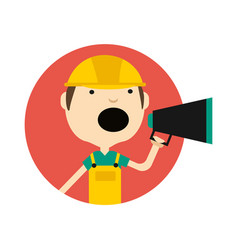 Young man in safety helmet with megaphone icon vector
