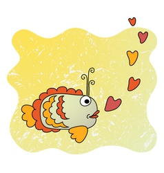 Cute cartoon fish in love vector