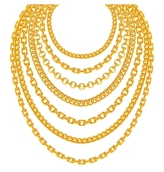 Golden metallic chain necklaces set vector