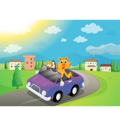 Animals in car vector