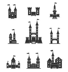 towers and castles icons set vector image