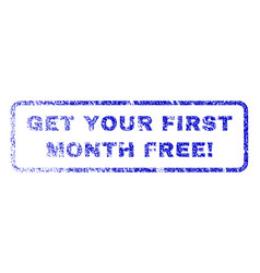 get your first month free exclamation rubber stamp vector image