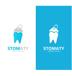 tooth and tag logo combination dental vector image