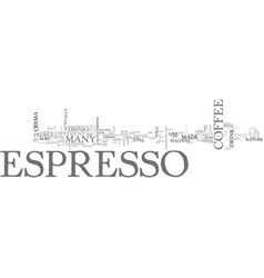What is espresso text word cloud concept vector