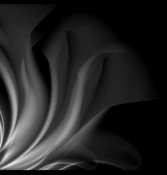 dark abstract monochrome smoke waves background vector image