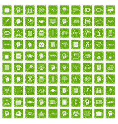 100 knowledge icons set grunge green vector