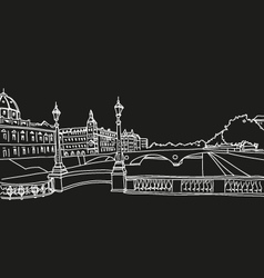 Hand drawn paris cityscape vector