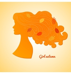 Silhouette of female profile with leaves in her vector image