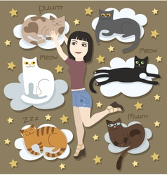 Girl with funny cats on clouds vector image