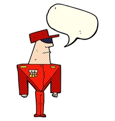 Cartoon guard with speech bubble vector