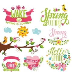 Spring time decor setbirdflowerslettering tree vector
