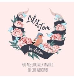 Wedding invitation with ribbon vector image