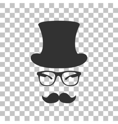 Hipster accessories design dark gray icon on vector