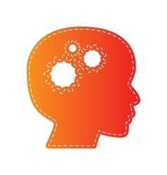 Thinking head sign orange applique isolated vector