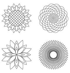 Set simple floral mandalas black and white vector