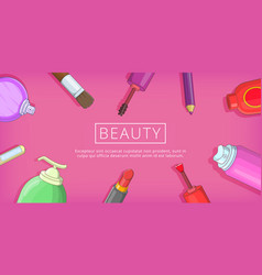 Beauty tools banner horizontal cartoon style vector