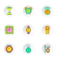 Chronometer icons set cartoon style vector