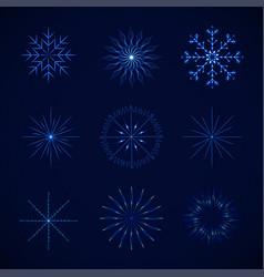 decorative crystal snowflakes set - vector image
