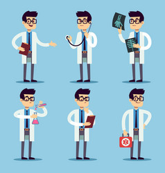 Doctor chemist pharmacist surgeon man cartoon vector