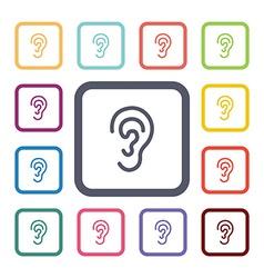 ear flat icons set vector image