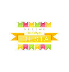 Fiesta logo original design colorful label with vector