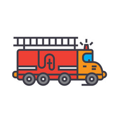 fire engine car flat line concept vector image vector image