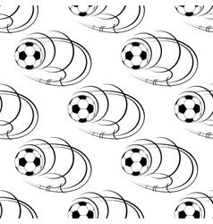 Flying soccer balls seamless pattern vector