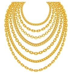 Golden metallic chain necklaces set vector image vector image