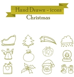 Illuetration of christmas set icons vector