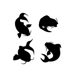 Koi carp silhouette vector