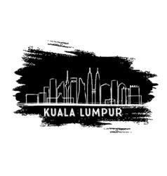 Kuala lumpur skyline silhouette hand drawn sketch vector