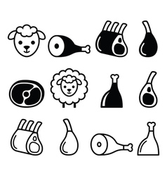 Lamb meat leg of lamb lamb shanks and ribs icons vector