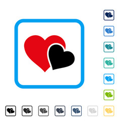 Love hearts framed icon vector
