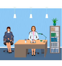 Medicine interior with sitting patient and doctor vector