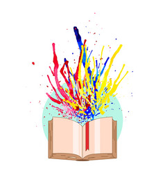 multicolored watercolor splashes fly off the book vector image