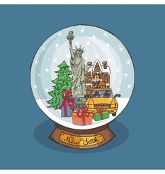 New york christmas snow globedoodle city vector