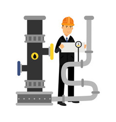 oilman engineer character controlling gauges on an vector image