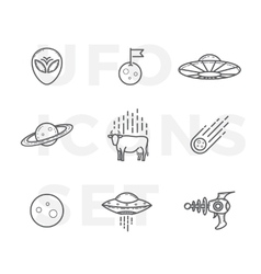 Outline Style Abstract UFO or Alien Icons vector image