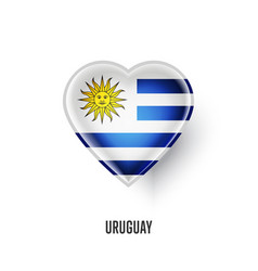 Patriotic heart symbol with uruguay flag vector