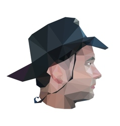 Profile of young man in origami style vector image