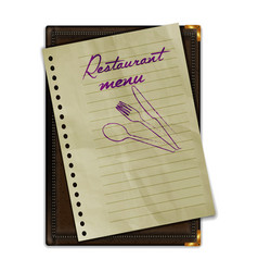 restaurant menu notebook with paper vector image