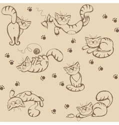 Seamless background with playful cats vector image vector image