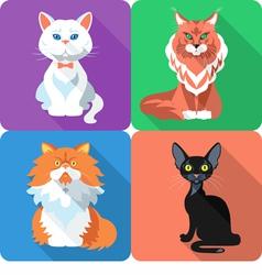 Set icon cat flat design vector image