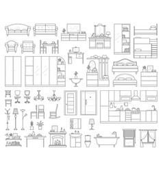 set of house interior furniture vector image