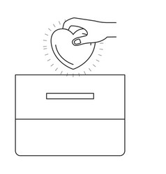 Silhouette front view hand with flat heart vector