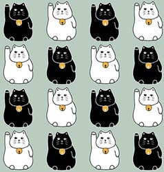 Sketch maneki neko seamless pattern vector